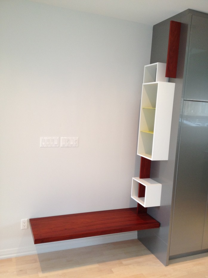 bench and key shelf, padauk wood and white lacquer panels
