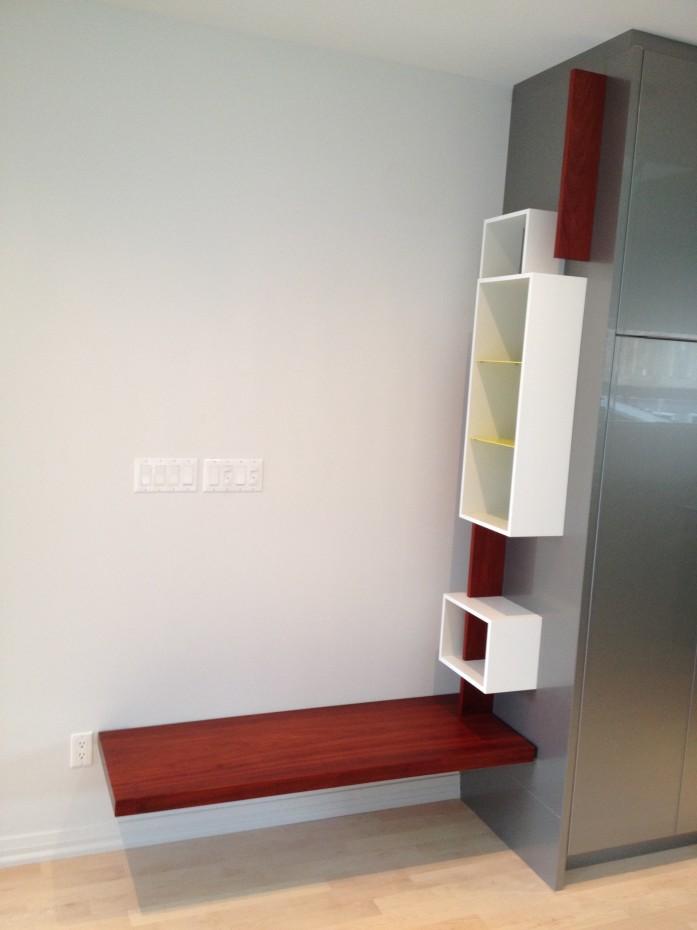 bench and key shelf, padauk wood and white lacquer panels